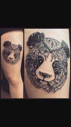 Mandala panda tattoo! Bear Tattoos, Cat Tattoo, Animal Tattoos, Panda Tattoos, Mandala Panda, Animal Doodles, Mandala Tattoo, Piercing Tattoo, Tatoo