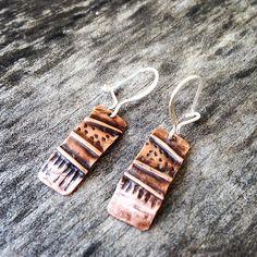 Copper fold formed earrings by Zona Sherman Designs