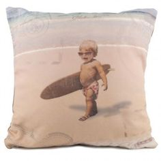 """Coussin """"Back to surf school"""" 40 x 40 face Great Photos, Decoration, Kids Bedroom, Baby Room, Surfing, Coast, Teddy Bear, Throw Pillows, Children"""
