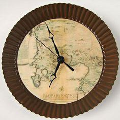 Reloj de pared con mapa antiguo DIY