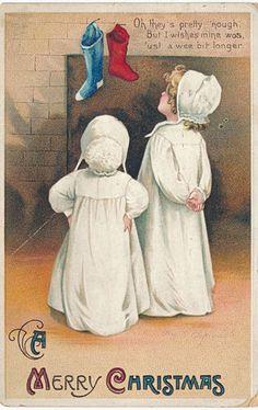 1912 SGD Clapsaddle Christmas Children Looking for Santa Up Chimney Postcard | eBay
