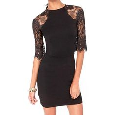 Lace Paneled Bodycon Dress | pariscoming