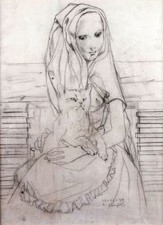 Tsuguharu Foujita (1886-1968) - Young girl with cat, 1959 - Pencil drawing