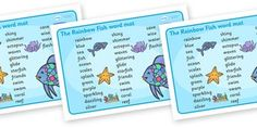 The Rainbow Fish Word Mat (Text) - The Rainbow Fish, Marcus Pfister, resources, Rainbow Fish, PSHE, PSE, octopus, shimmering scales, starfish, friendship, under the sea, sea, story, story book, story book resources, story sequencing, story resources,