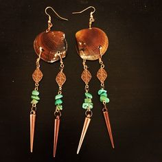 aaseagypsy jewels; seagypsy shell spear and dangle mermaid earrings; brown and turqoise/green