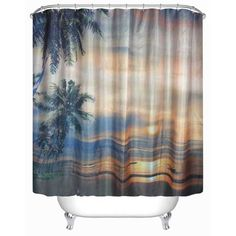 3D Sunset Beach Waterproof Shower Curtain Polyester Curtain 70 x 70 Inches