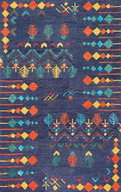 So funky and fun! This is Rugs USA's Berber SM41 Hand Tufted Gabbeh Tribal Rug!