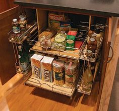 pull-out shelves with wire organizer