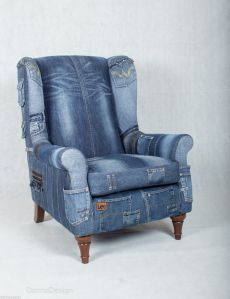 Jeans Sitze (Verkehr) / Möbel / SECOND STAND ., You are in the right place about DIY Furniture shabby chic Here we offer you the most beautiful pictures about the Denim Furniture, Funky Furniture, Recycled Furniture, Furniture Ideas, Wingback Armchair, Furniture Upholstery, Sofa Chair, Bergere Chair, Patchwork Chair