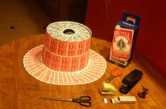 Party top-hat made of playing cards.