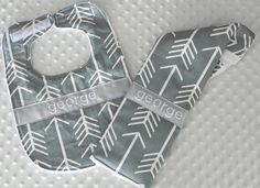 Personalized Bib and Burp Cloth Set - Gray and White Arrows Bib and Burp Cloth