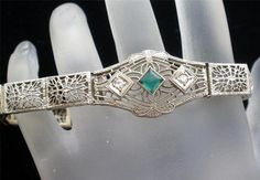 Antique 14k White Gold Filigree Emerald Diamond Art Deco Estate Bracelet   eBay