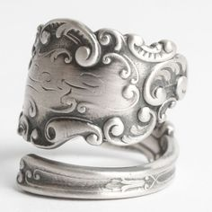 Vintage Victorian Ring, Rococo Ring, Sterling Silver Spoon Ring, Antique Gorham 1893 Luxembourg, Handmade Gift, Adjustable Ring Size (6072) by Spoonier on Etsy