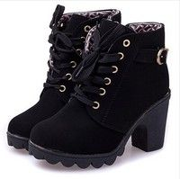 Wish | New platform high heel single shoes vintage Women Motorcycle Boots Martin Boots