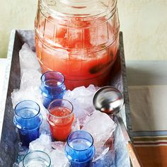 Pureed watermelon and crushed mint make this sweet drink extra refreshing! More July 4th potluck recipes: http://www.bhg.com/holidays/july-4th/recipes/fourth-of-july-potluck-ideas/?socsrc=bhgpin062913watermelonmint=4