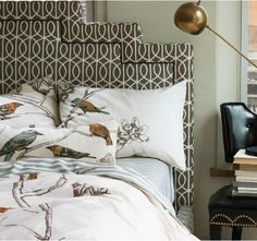 An art deco-inspired headboard upholstered in one of our graphic fabrics would be a chic update. Enter the Update Your Space Sweepstakes >http://www.dwellstudio.com/update-your-space-sweepstakes