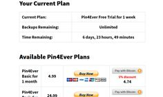 Pin4Ever   Pricing   My Subscription   Current Plan   Instructions   Pin4Ever