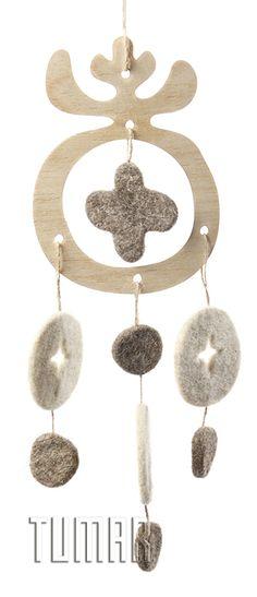 "Garlands ""Flower"". Felt - 100% wool. Handmade, solid-rolled, ala-qiyiz technique. Base - wood.  Christmas collection 2016. Tumar Art Group."