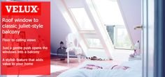 Save money on your new VELUX CABRIO balcony windows by shopping at Sterlingbuild. Balcony Window, Roof Window, Balcony Flooring, Juliet Balcony, Large Windows, Terrace, Money, Bedroom, Shopping