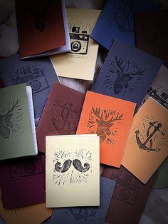 Lino printed handmade notebooks