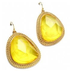 Crystyna's Abstract Shape Yellow Stone Earrings ($30) ❤ liked on Polyvore