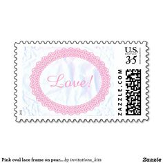 Pink oval lace frame on pearl white wedding stamp