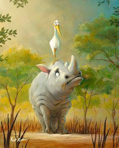 Friends Along The Way by artist Rob Kaz Cute Cartoon Wallpapers, Cartoon Pics, Art And Illustration, Fantasy Kunst, Fantasy Art, Cute Drawings, Animal Drawings, Cute Art, Watercolor Art