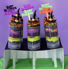 Witch Themed Halloween Party - cake pushpops and a ton of other really adorable foods!