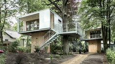 """Urban Treehouse is a home located in Berlin, Germany. The interior's extensive use of wooden surfaces make it feel like a part of its forest surroundings.  The home is available for short-term rent.           Urban Treehouse: """"The Urban Treehouse is a place to get away, to play, to think and change your perspective; a place of inspiration and regeneration. With 28 sqm (300 sqft) each and 4 m (13 ft) high up the two tree houses offer all the amenities one could ask for. The 650 sqm (6,997 ..."""