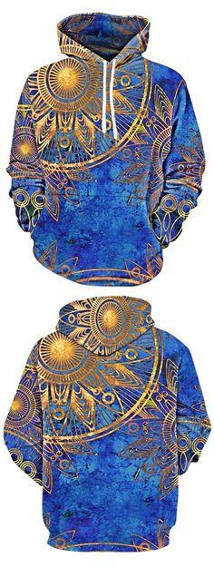 Kangaroo Pocket Maya Totem Print Hoodie