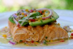 grilled salmon with avocado salsa. This looks refreshing and delicious!