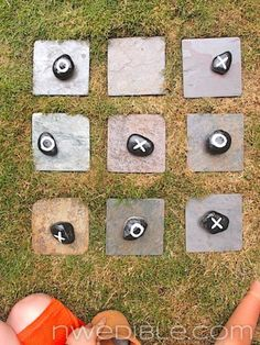 Outdoor Tic-Tac-Toe Game ~ this would be great where the sunken water control lid is in the backyard