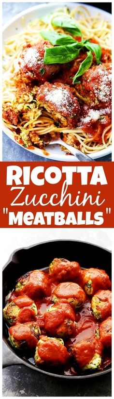 """Ricotta Zucchini """"Meatballs"""" - Delicious, melt-in-your-mouth-amazing zucchini meatballs with ricotta and parmesan cheese, topped with a warm and bubbly tomato sauce!"""