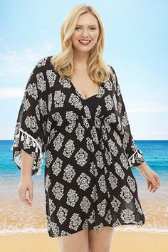 31368b1d099 Always For Me Fire Island Plus Size Cover Up in Black and White Print