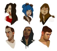 some heads. deviantart stock photos again.. including a ramona flowers cosplayer :)