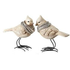 Regency International 2 Piece Frosted Cardinal with Scarf Figurine Set