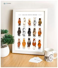 ******* 3 for 2 available, check other listings ******* A unique modern art print of the most popular Horse breeds in Britain. Part of my British Livestock Series which also includes Chickens, Cows, Pigs, and Sheep. Print size - 40x30cm Paper - 350gsm premium thick inaset matte