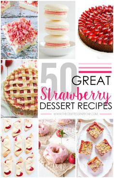 With strawberry season fast approaching one of these 50 Strawberry Dessert Recipes are sure to be a hit at your next gathering or family dinner. Strawberry Dessert Recipes, Fruit Recipes, Sweet Recipes, Baking Recipes, Just Desserts, Delicious Desserts, Fruit Dishes, Pie Dessert, Fruit Dessert