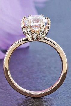 Start your happily ever after on a sweet note with this forever brilliant moissanite engagement ring set from Camellia Jewelry. Scrupulously handmade in fine detail, it is a unique moissanite wedding ring set that will show her how much you care without b Wedding Rings Rose Gold, Rose Gold Engagement Ring, Engagement Ring Settings, Bridal Rings, Vintage Engagement Rings, Wedding Jewelry, Wedding Engagement, Gold Jewelry, Fine Jewelry