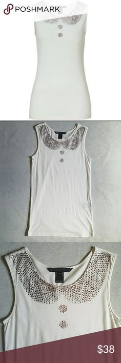 "Marc by Marc Jacobs Whisper White Tank Top Sleeveless shirt with printed on peter pan collar and buttons. Ivory white color with bronze and navy print. Like new condition. 27"" long. 15.5"" pit to pit. Marc By Marc Jacobs Tops Tank Tops"