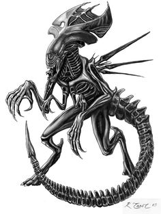 Latest Grey Ink Alien Tattoo Design