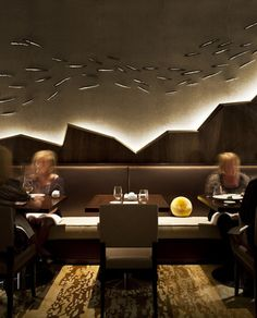 Nobu Perth restaurant #seat #bench  Cool lighting effect , wall panel and wall art