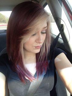My new hair! Burgundy, with blonde fringe