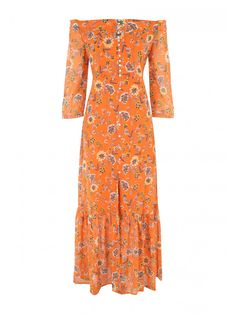 Make a statement this summer with a gorgeous orange floral maxi dress. Featuring a bardot design, button-up fastening and short sleeves, it's the perfect dre...