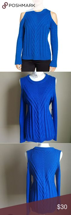 NWT Vince Camuto Cold Shoulder Sweater Soft Royal Blue Cold Shoulder sweater by Vince Camuto. Size is large, machine washable, made from cotton and acrylic but no itch!! Very soft!  STILL HAS TAGS! NEVER WORN OR WASHED!! Vince Camuto Sweaters