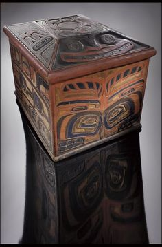 "Image 1: Bent-wood box with eagle and killer whale designs (Containers and Vessels) ""1880-1910"" Captain Richard Carpenter, Heiltsuk (Bellabella), 1841-1931"