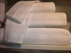 Waffle cotton stonewashed towels with linen trim! From Traditions Linens