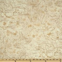 Timeless Treasures Cabin Fever Flannel Map Cream