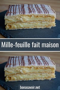 Homemade mille-feuille - One of my favorite desserts: mille-feuille! I offer the traditional homemade recipe, with a vanilla - Sponge Cake Recipes, Homemade Cake Recipes, Eggless Recipes, Easy Cheesecake Recipes, Easy Cookie Recipes, Napoleon Pastry, Fluffy Frosting Recipes, Butter Frosting, Cake Recipes From Scratch