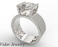 Wide Band Princess Cut Diamond Ring  Unique Custom by Vidarjewelry, $11500.00